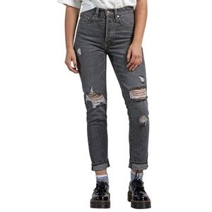 Nwt 27 28 volcom Black Jeans High Waisted distress
